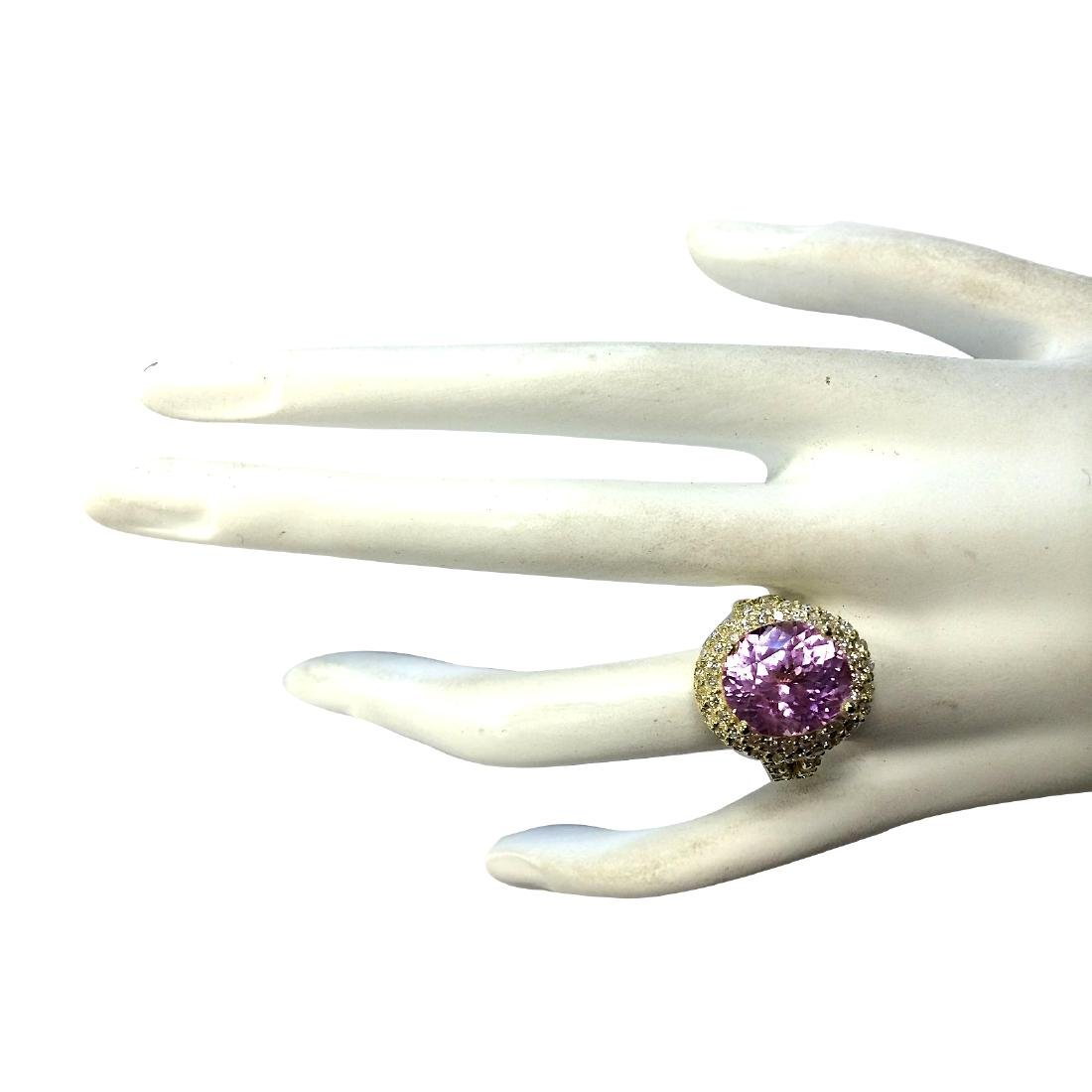 11.51CTW Natural Pink Kunzite And Diamond Ring In 18K - 4