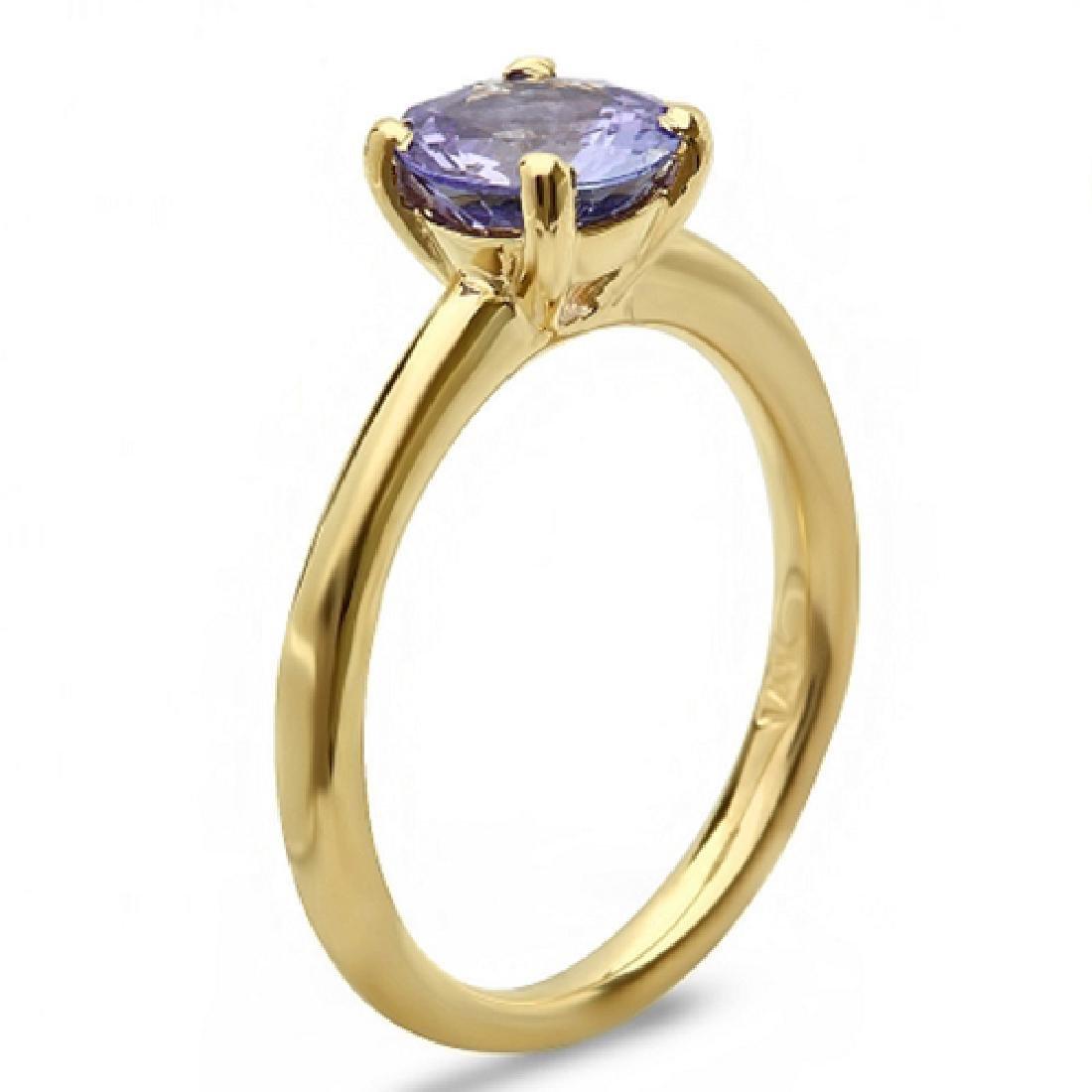 1.30 Carat Natural Tanzanite 18K Solid Yellow Gold Ring - 2