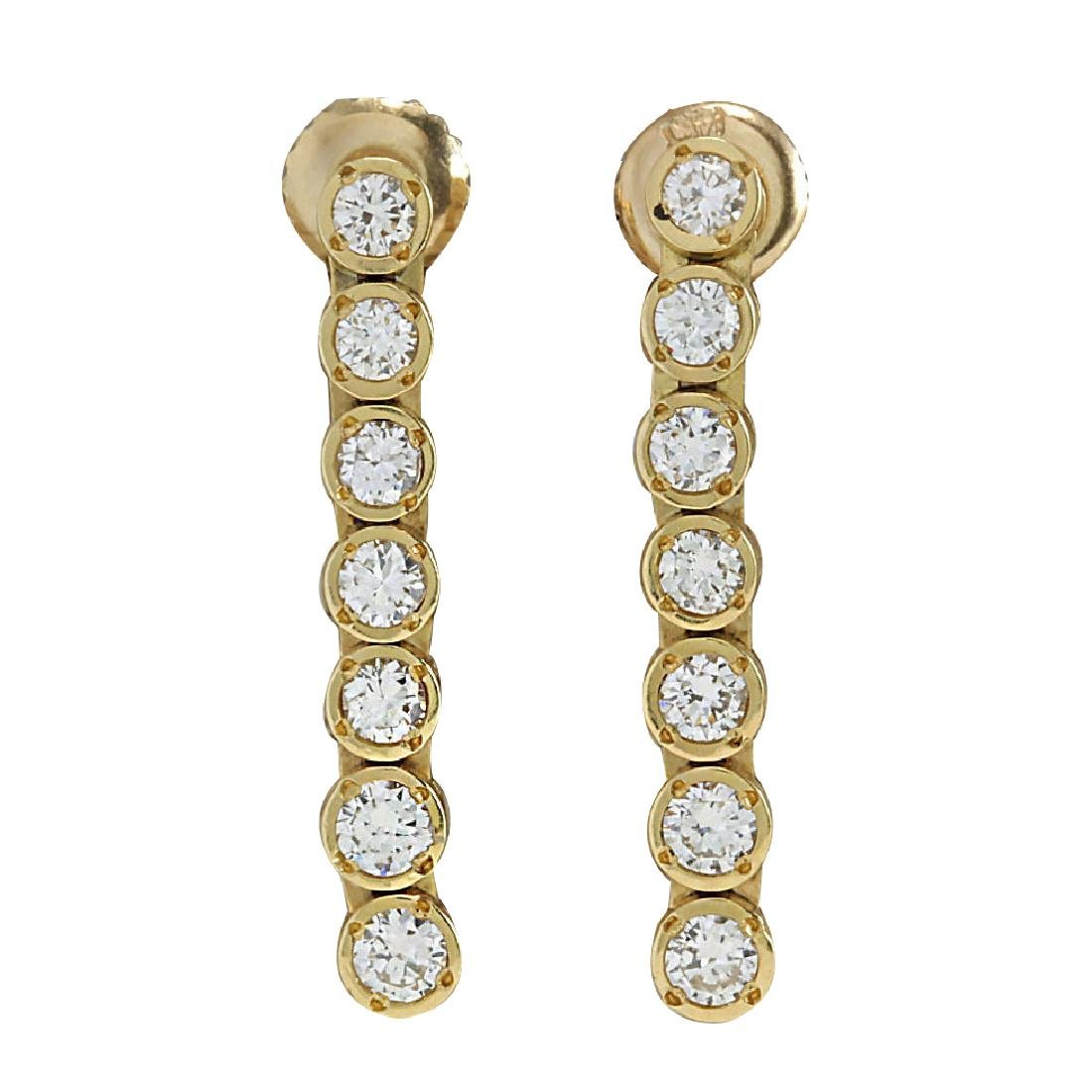 1.26CTW Natural Diamond Earrings 18K Solid Yellow Gold