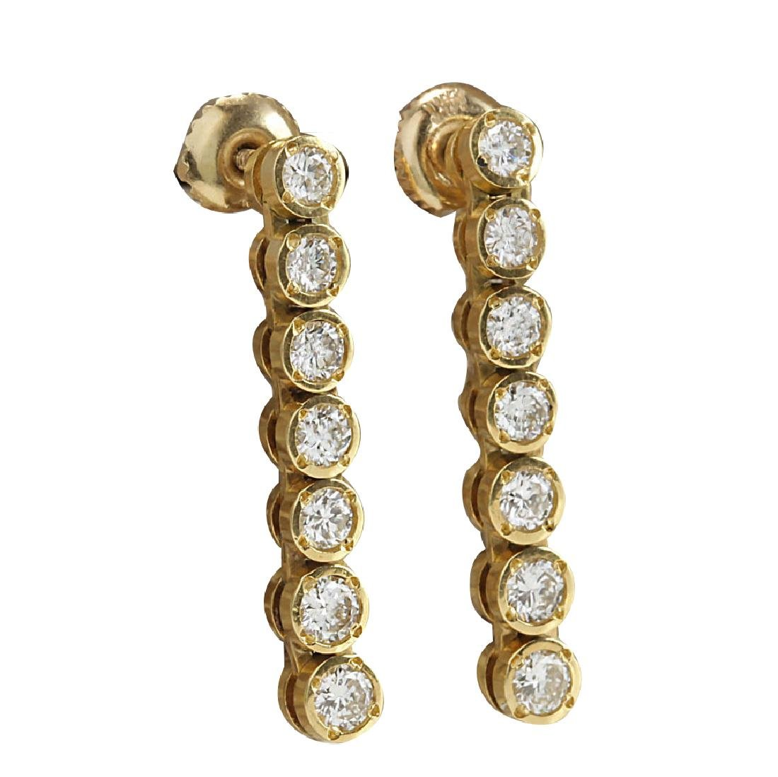 1.26CTW Natural Diamond Earrings 18K Solid Yellow Gold - 2
