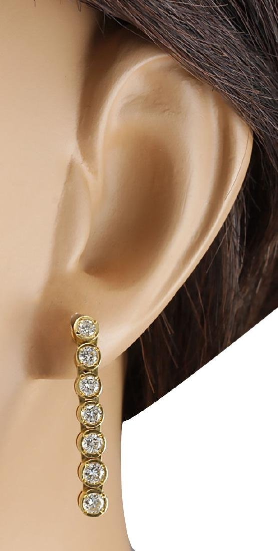 1.26CTW Natural Diamond Earrings 18K Solid Yellow Gold - 3