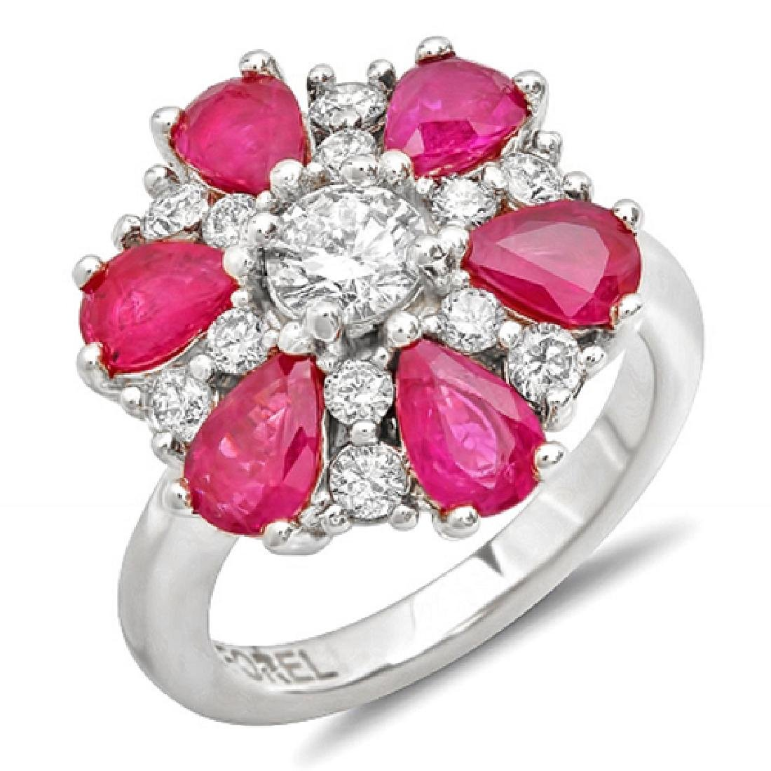 3.72 Carat Natural Ruby 18K Solid White Gold Diamond