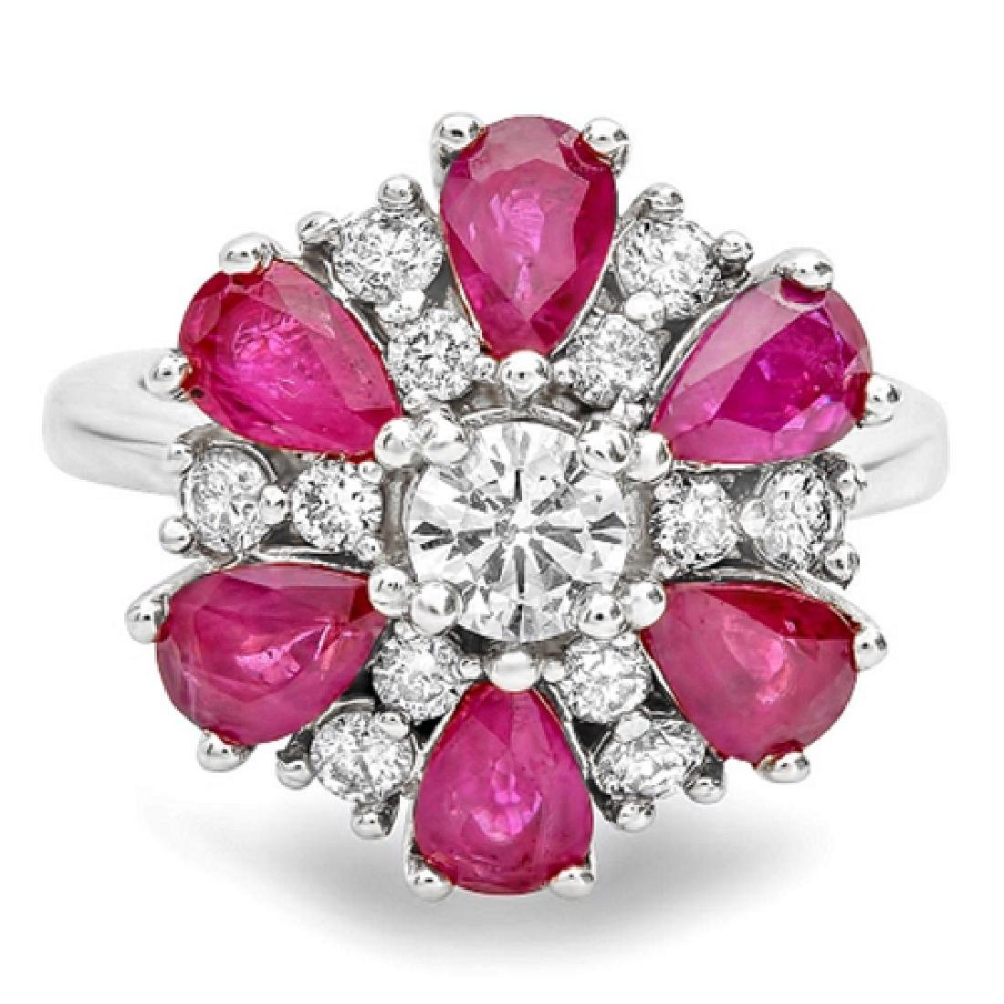 3.72 Carat Natural Ruby 18K Solid White Gold Diamond - 2