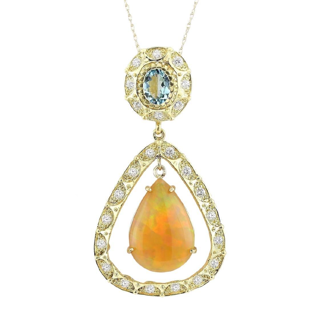 13.14 CTW Natural Opal, Aquamarine Diamond Pendant 18K