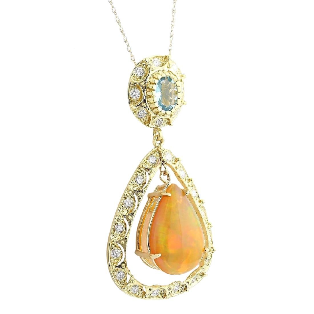 13.14 CTW Natural Opal, Aquamarine Diamond Pendant 18K - 2