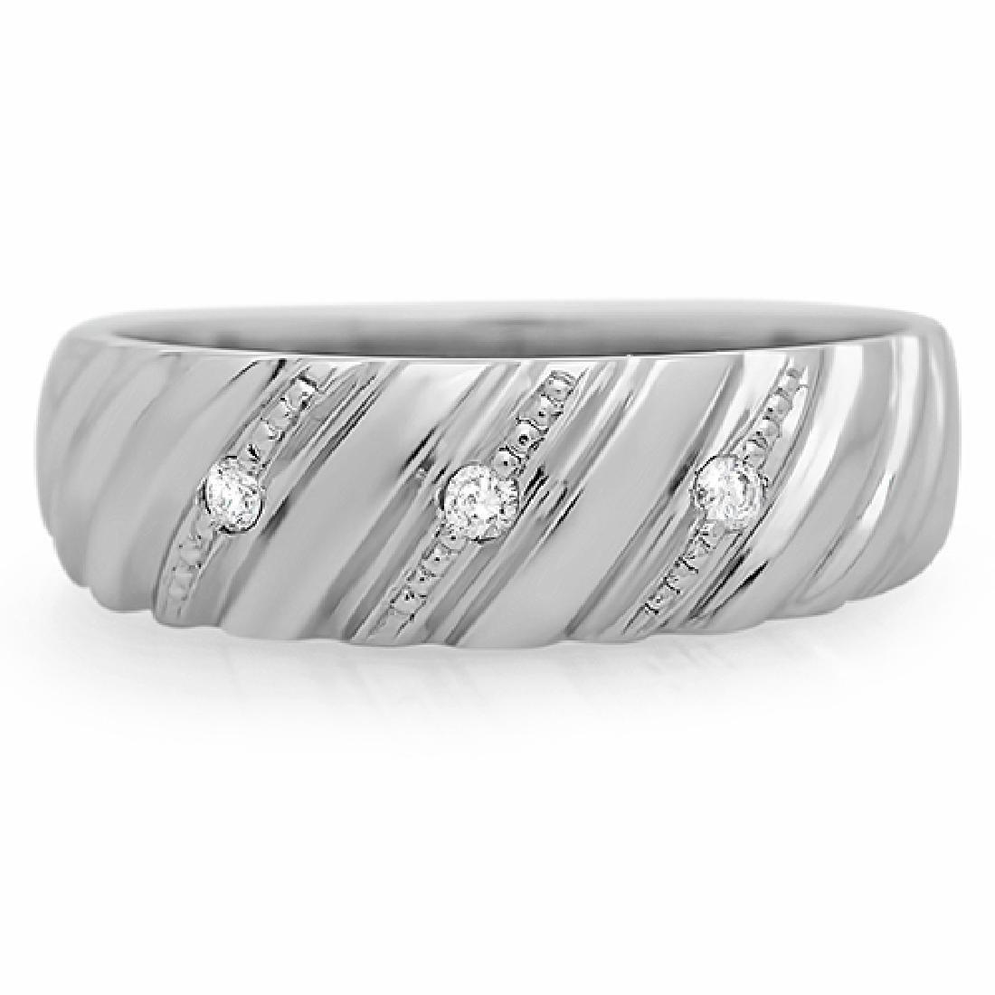 Mens 0.05 Carat Natural Diamond 18K Solid White Gold