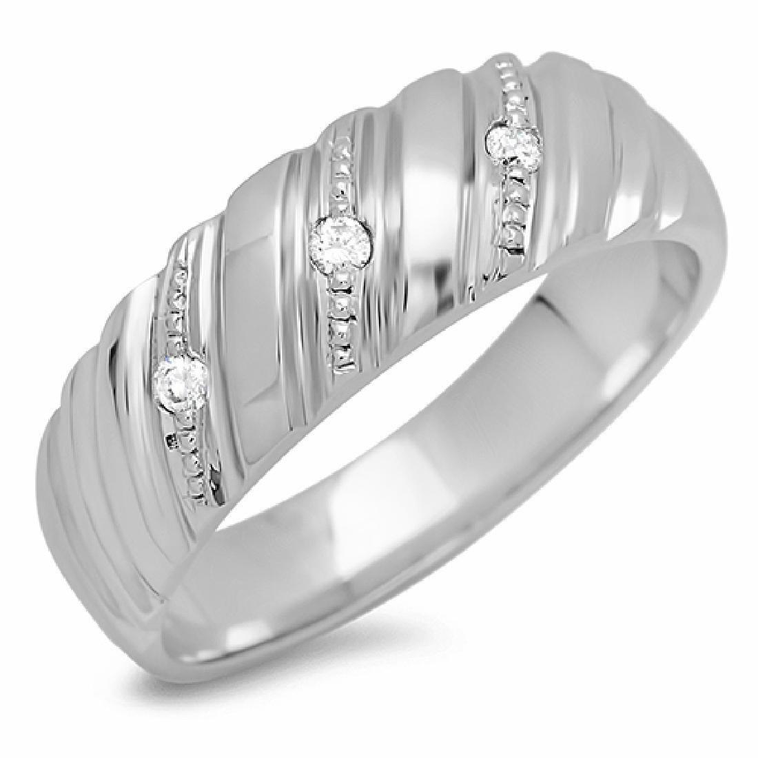 Mens 0.05 Carat Natural Diamond 18K Solid White Gold - 2