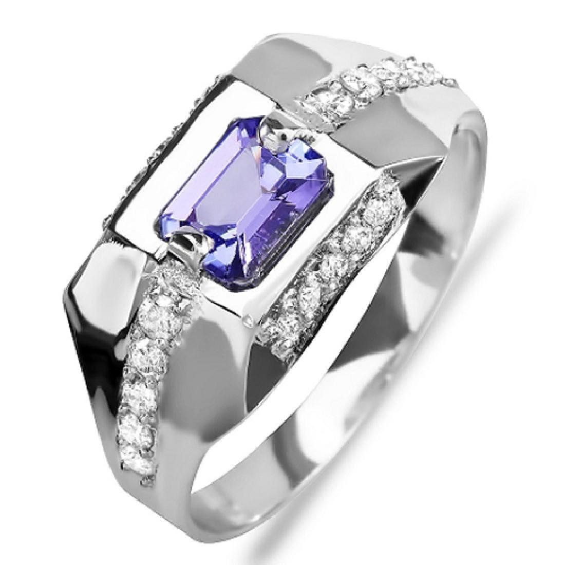 1.42 Carat Natural Sapphire 18K Solid White Gold