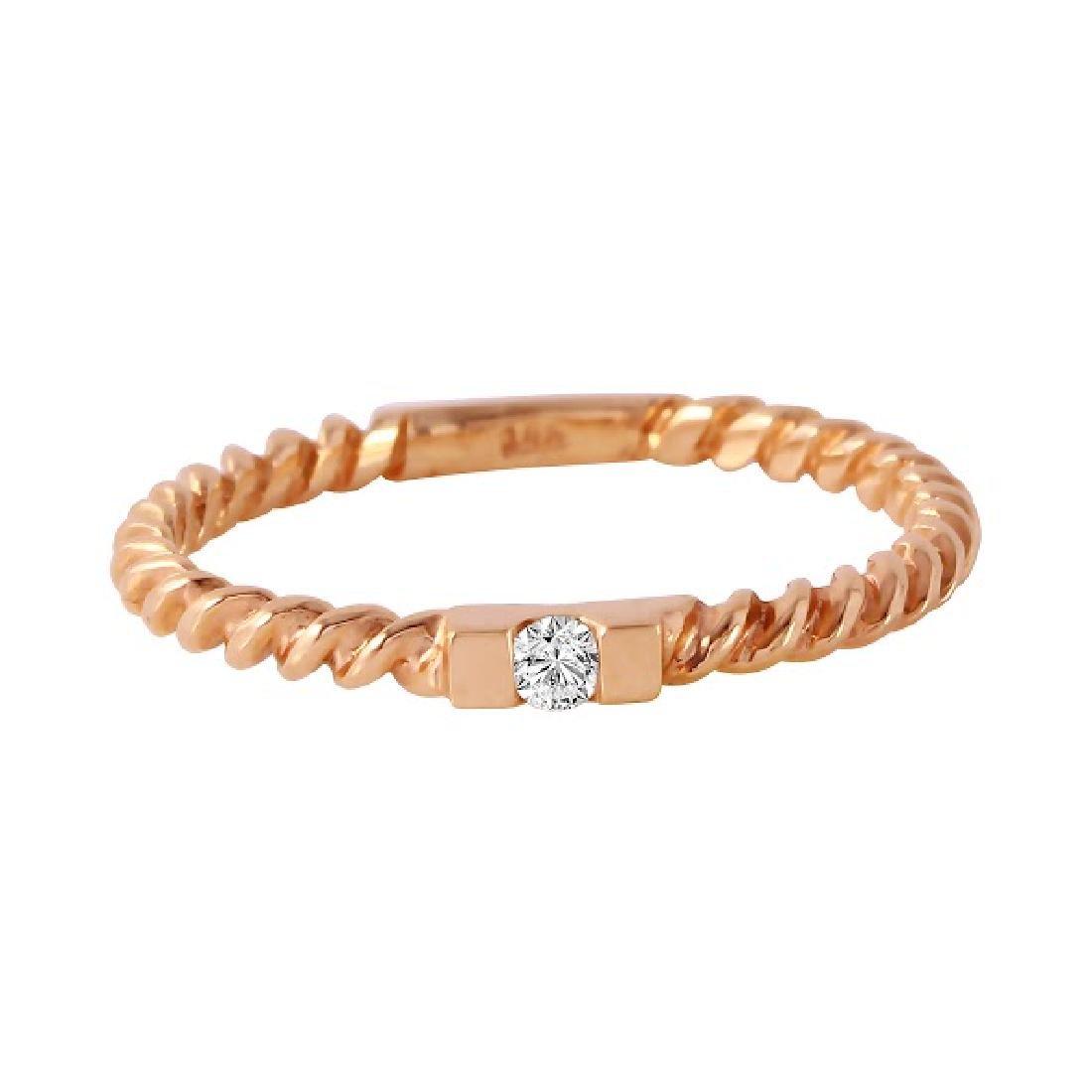 0.04 Carat Natural Diamond 18K Solid Rose Gold Ring - 2
