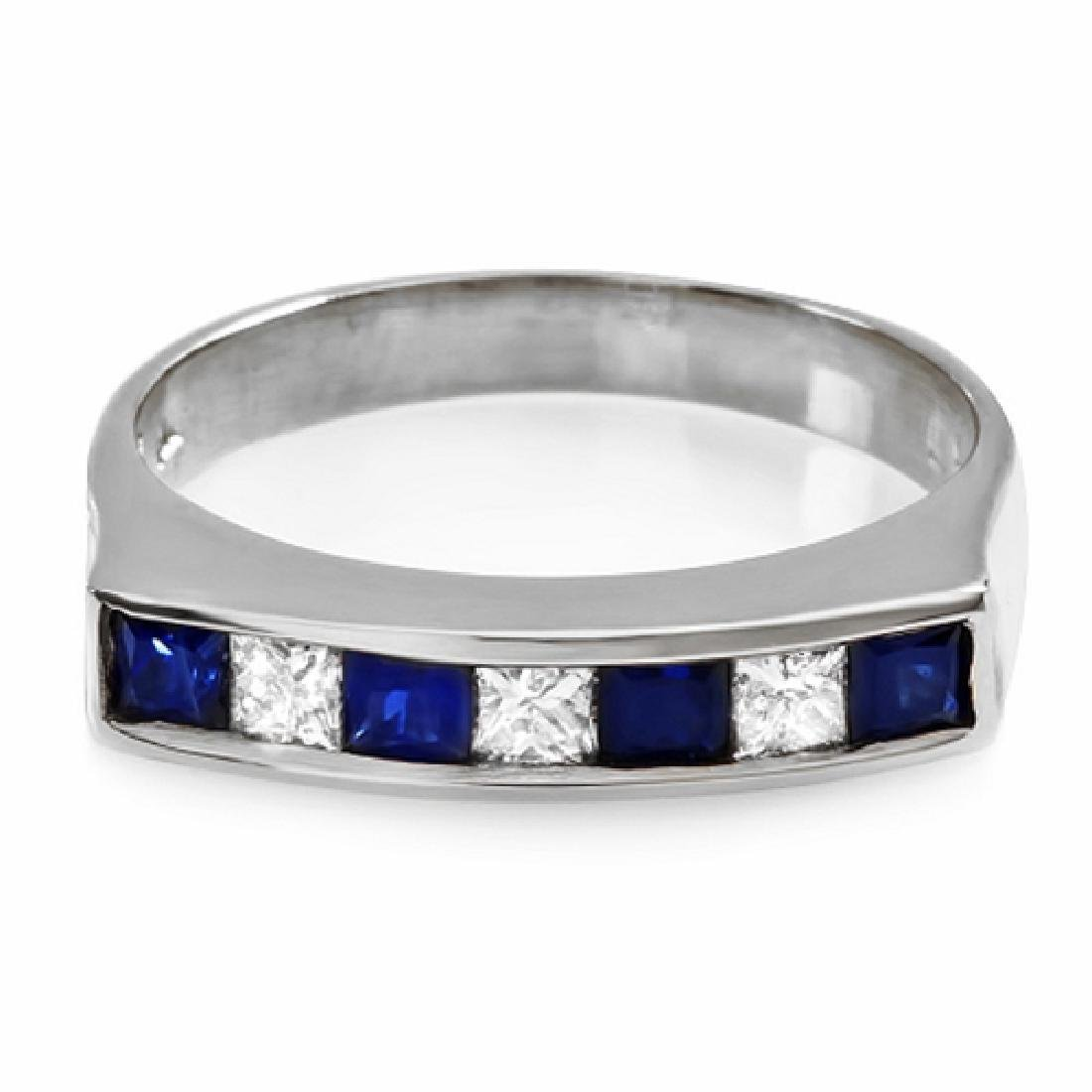 1.00 Carat Natural Sapphire 18K Solid White Gold