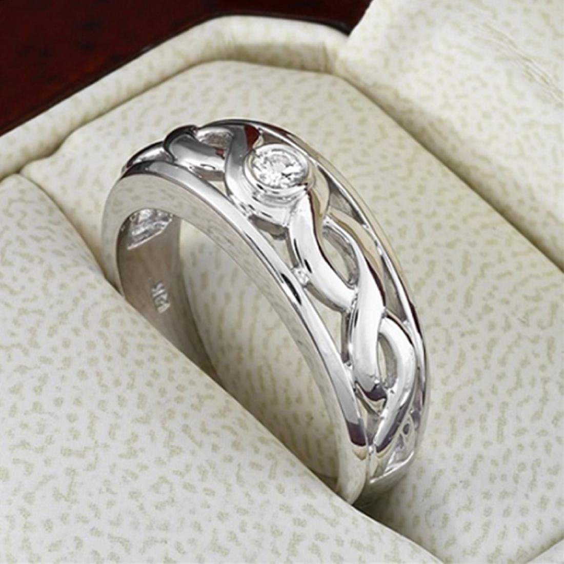 Mens 0.15 Carat Natural Diamond 18K Solid White Gold - 2