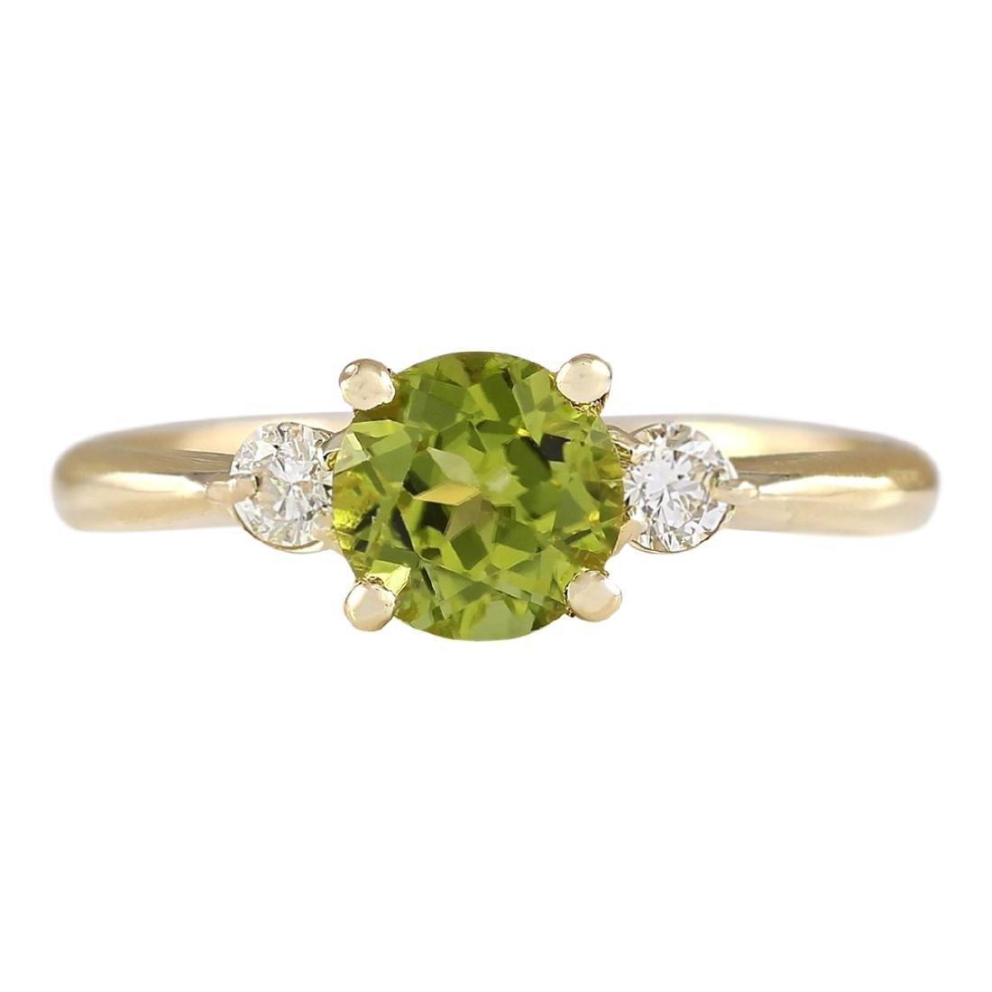 1.40 CTW Natural Peridot And Diamond Ring In 18K Yellow