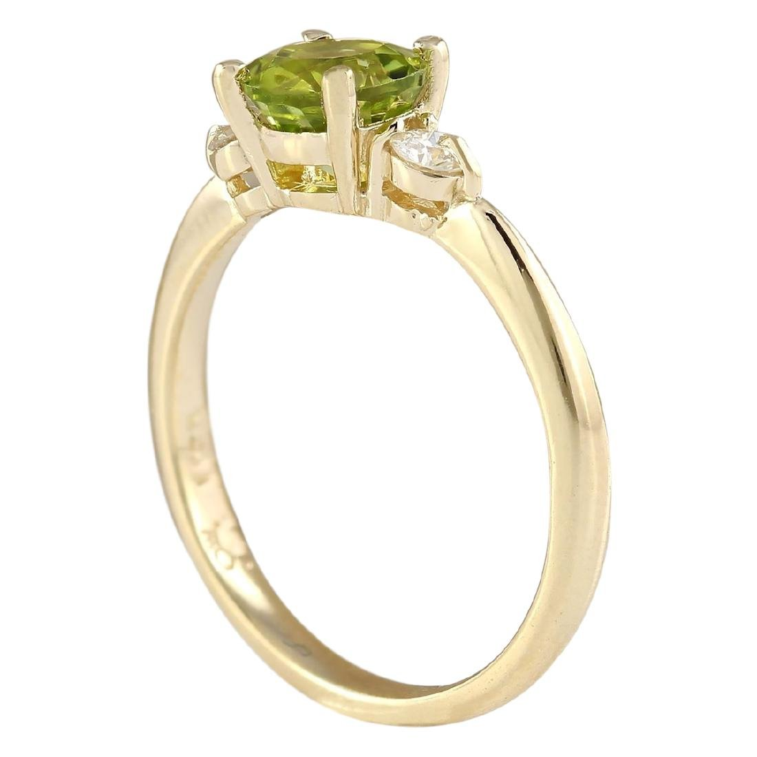 1.40 CTW Natural Peridot And Diamond Ring In 18K Yellow - 3