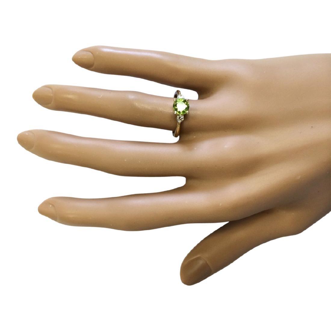 1.40 CTW Natural Peridot And Diamond Ring In 18K Yellow - 4