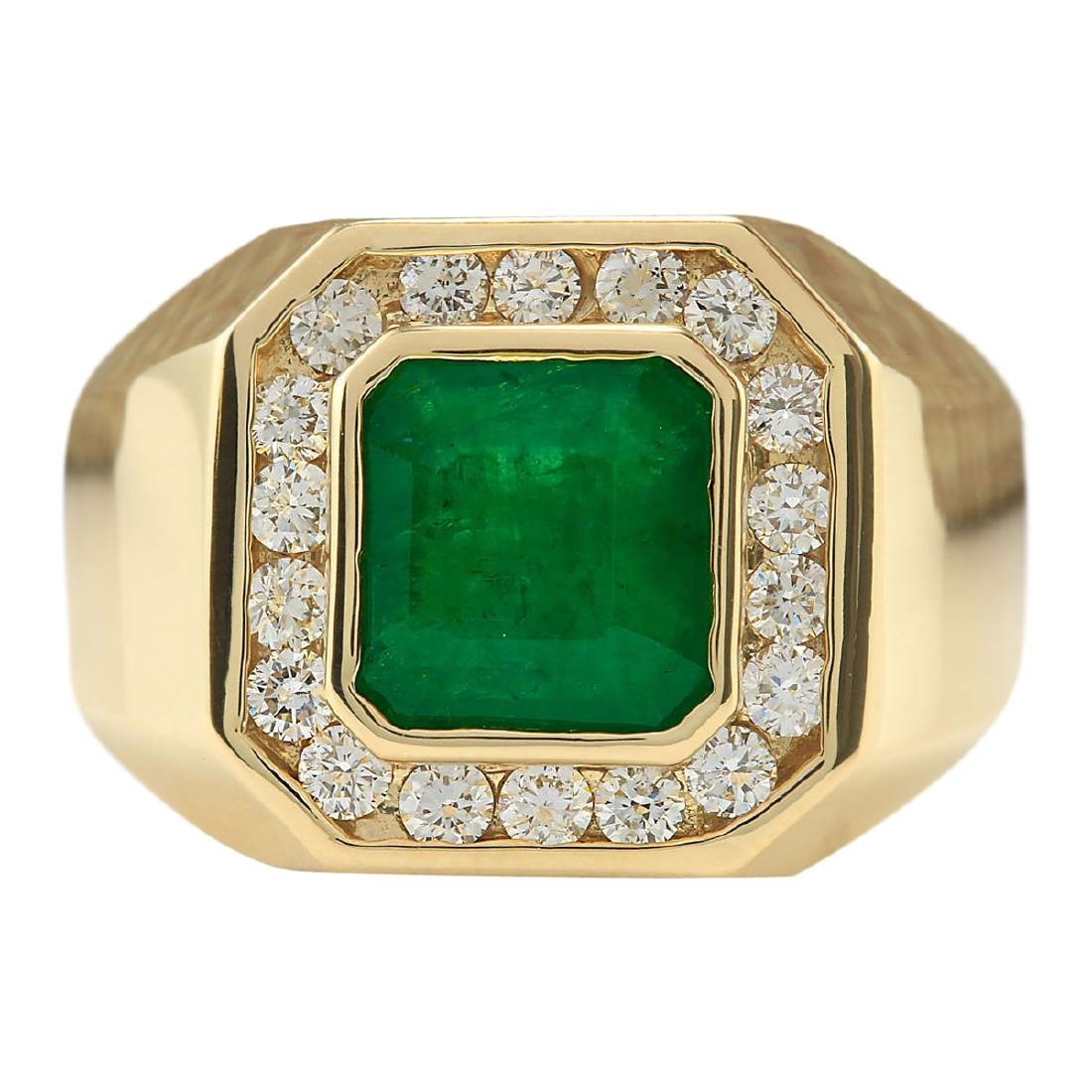 4.26 CTW Natural Emerald And Diamond Ring In 18K Yellow