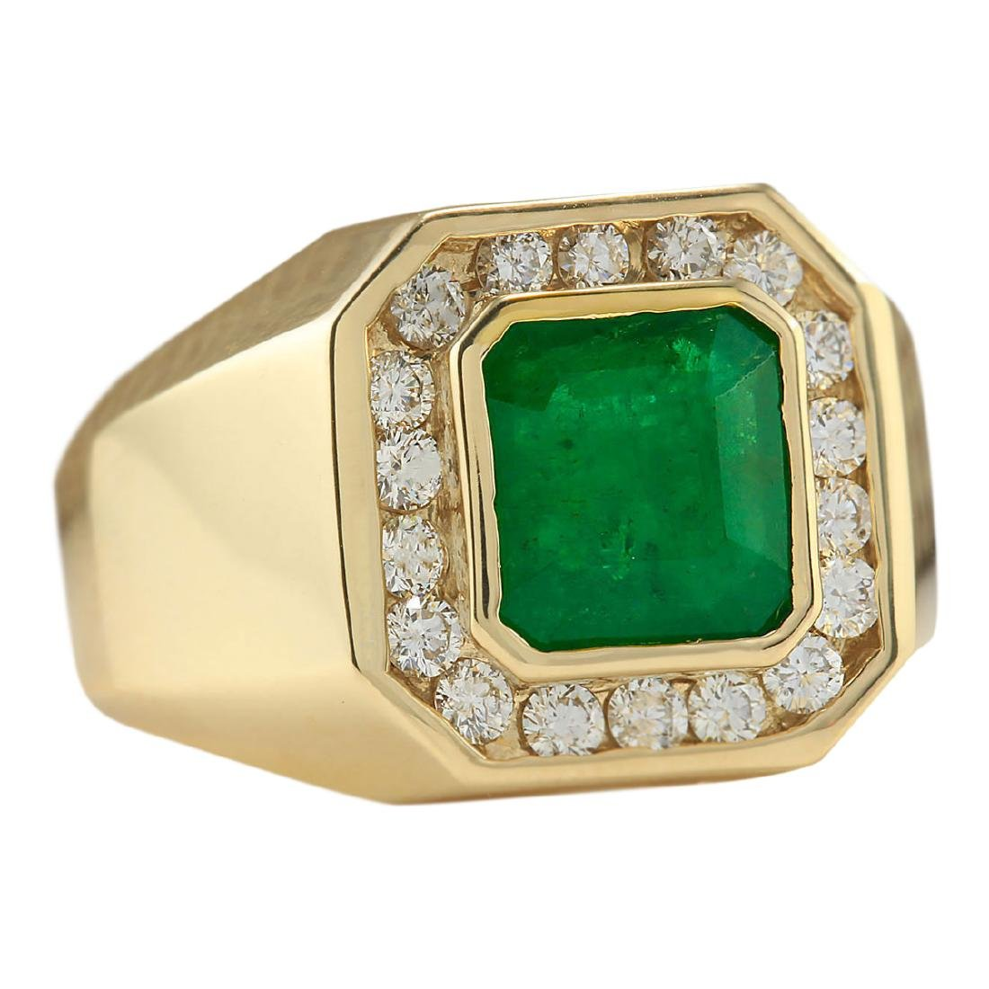 4.26 CTW Natural Emerald And Diamond Ring In 18K Yellow - 2