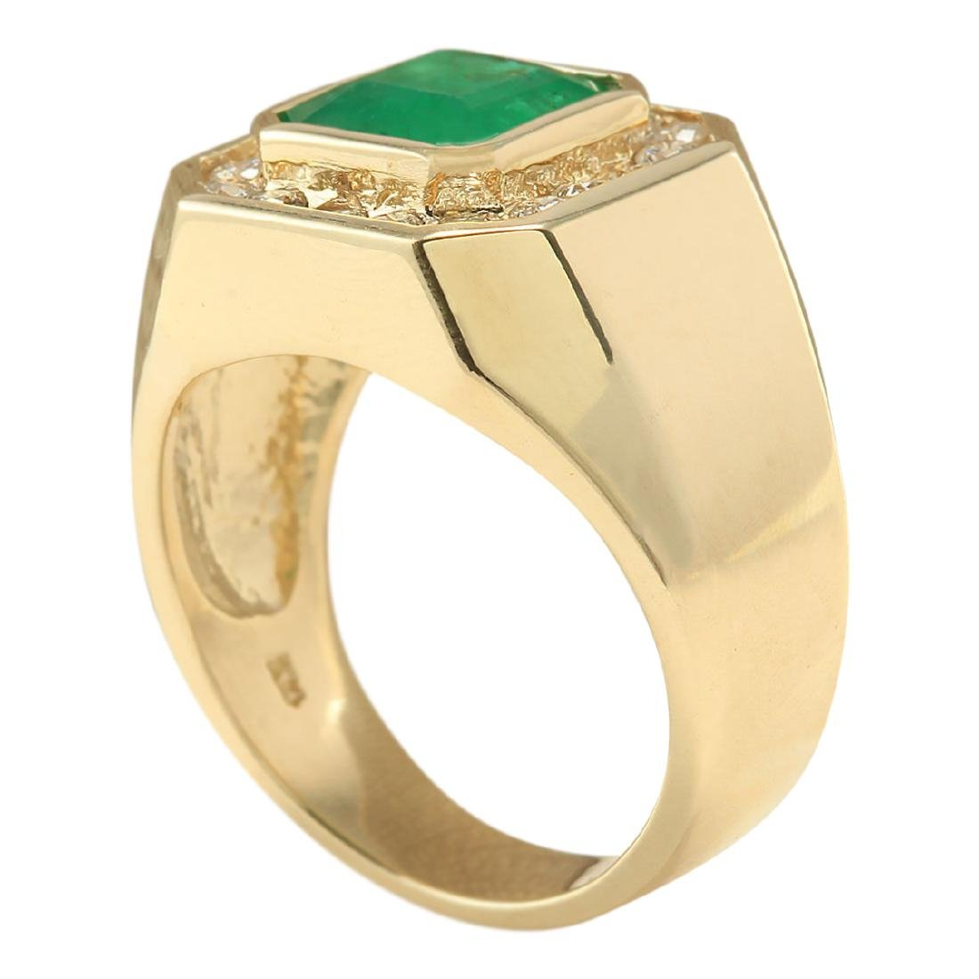 4.26 CTW Natural Emerald And Diamond Ring In 18K Yellow - 3