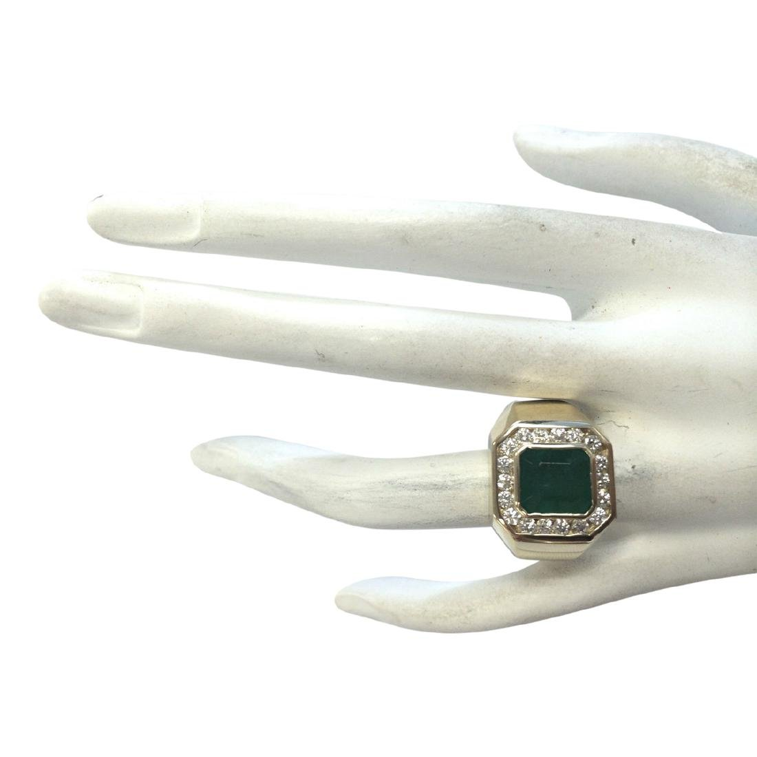 4.26 CTW Natural Emerald And Diamond Ring In 18K Yellow - 4