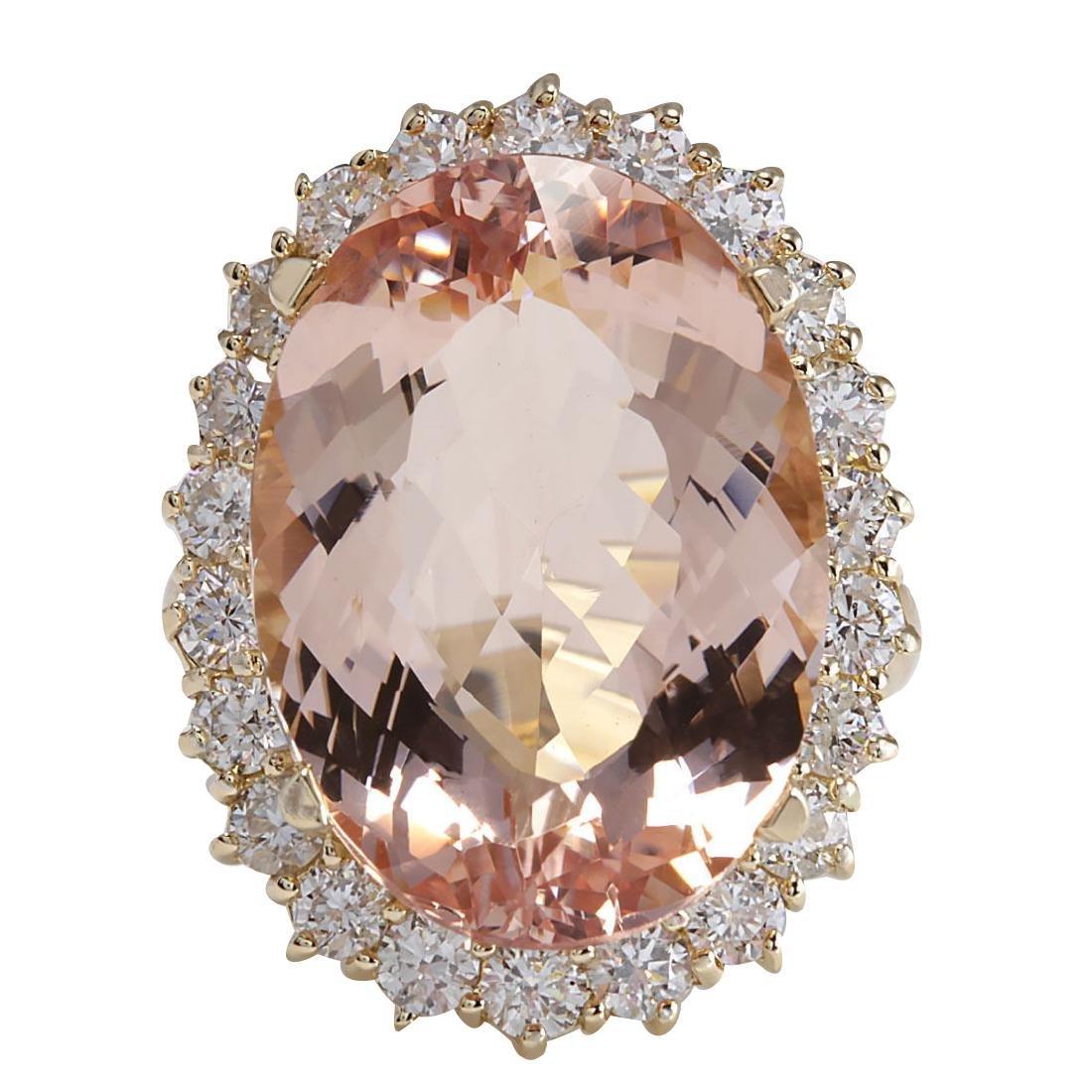 17.14CTW Natural Morganite And Diamond Ring In 18K