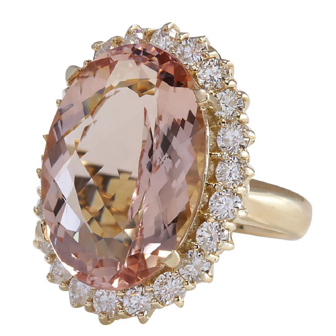 17.14CTW Natural Morganite And Diamond Ring In 18K - 2