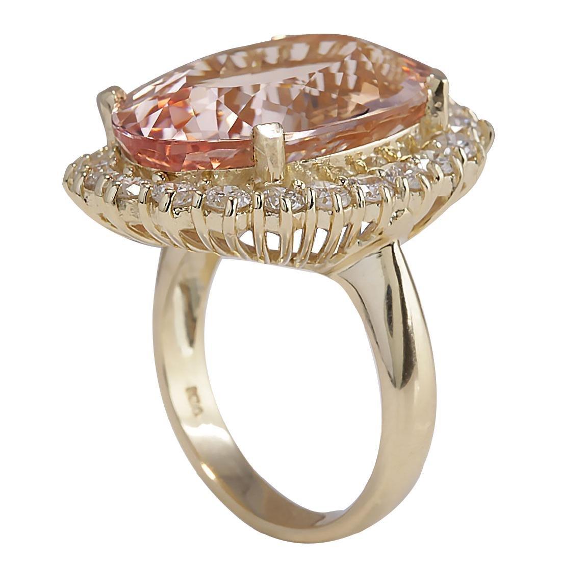 17.14CTW Natural Morganite And Diamond Ring In 18K - 3