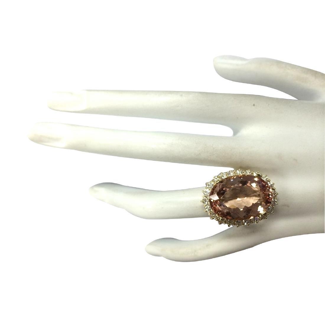 17.14CTW Natural Morganite And Diamond Ring In 18K - 4