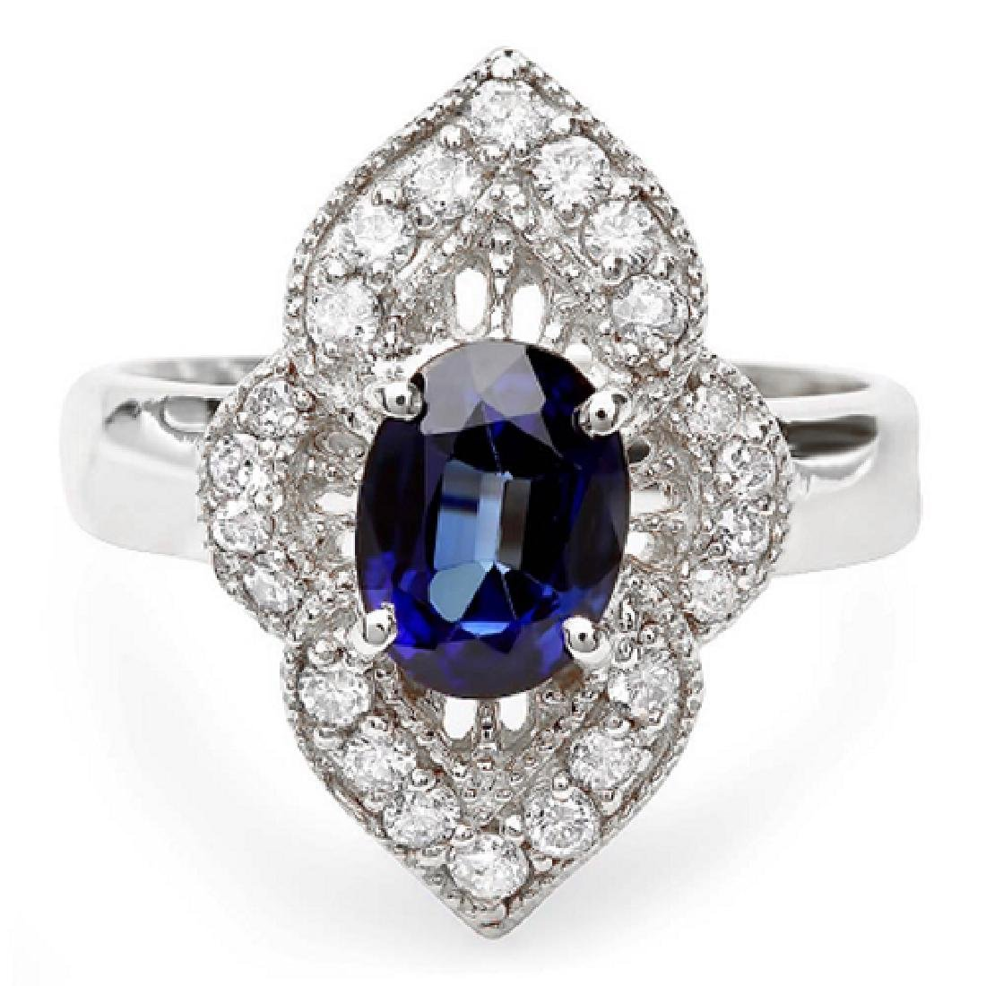 2.40 Carat Natural Sapphire 18K Solid White Gold