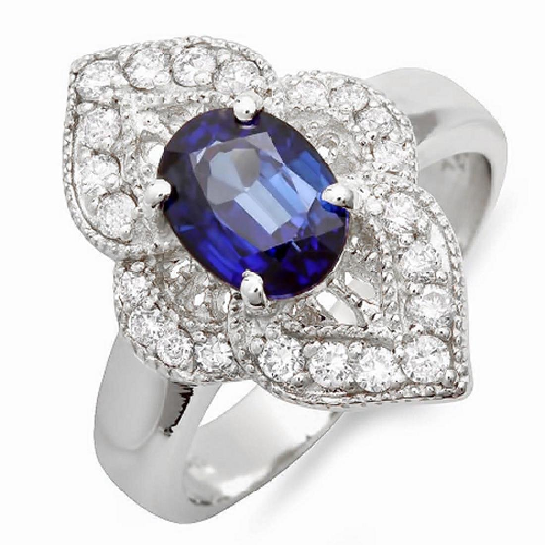 2.40 Carat Natural Sapphire 18K Solid White Gold - 2