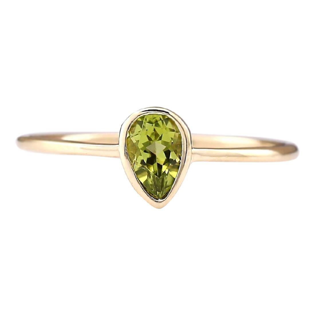 0.50 CTW Natural Peridot Ring In 18K Yellow Gold