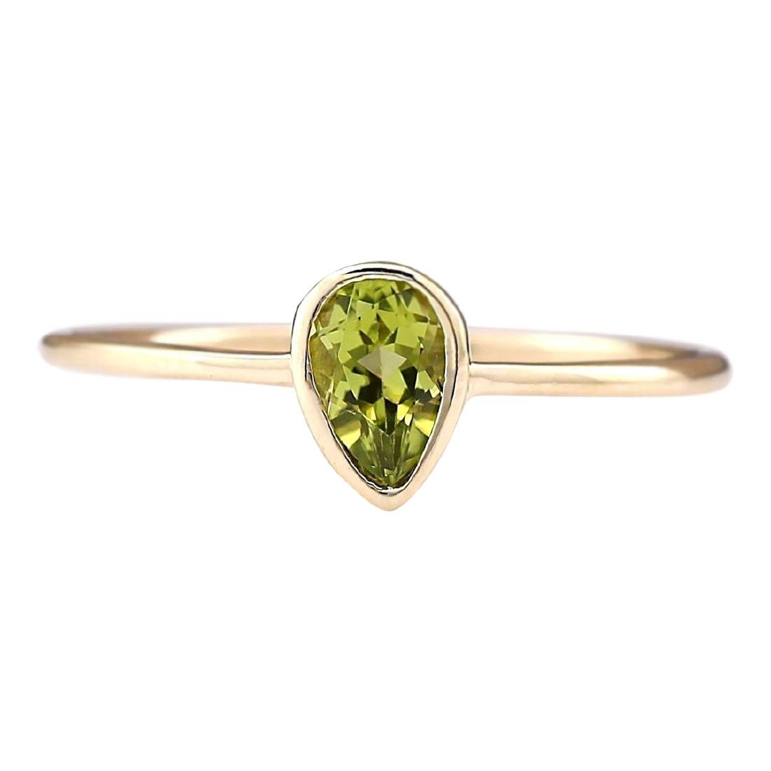 0.50 CTW Natural Peridot Ring In 18K Yellow Gold