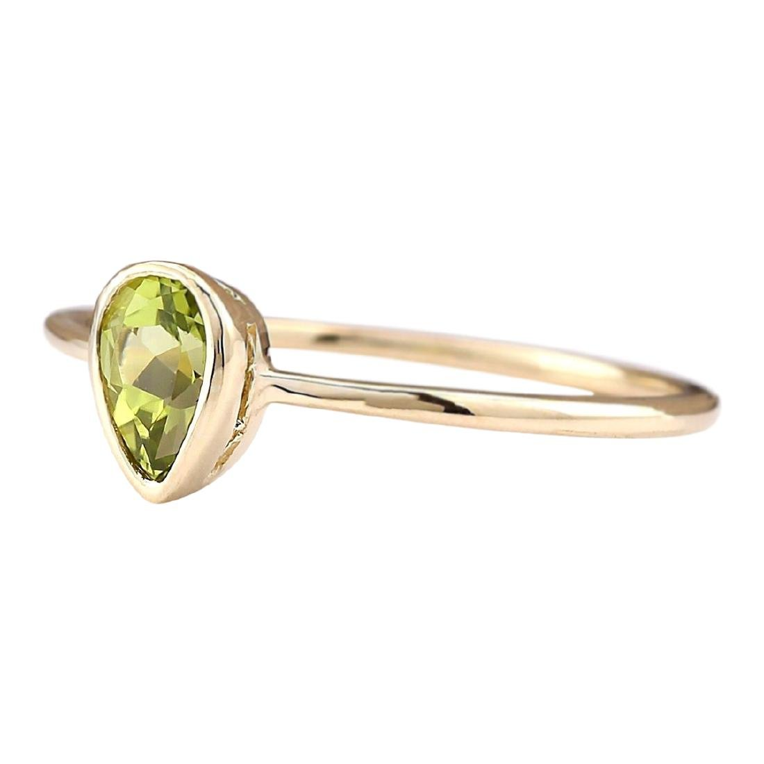 0.50 CTW Natural Peridot Ring In 18K Yellow Gold - 2