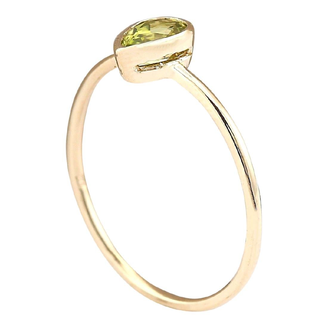 0.50 CTW Natural Peridot Ring In 18K Yellow Gold - 3