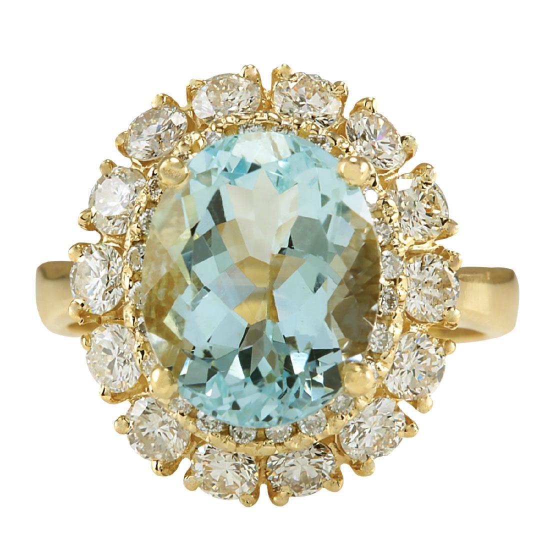 5.15CTW Natural Blue Aquamarine And Diamond Ring In 18K