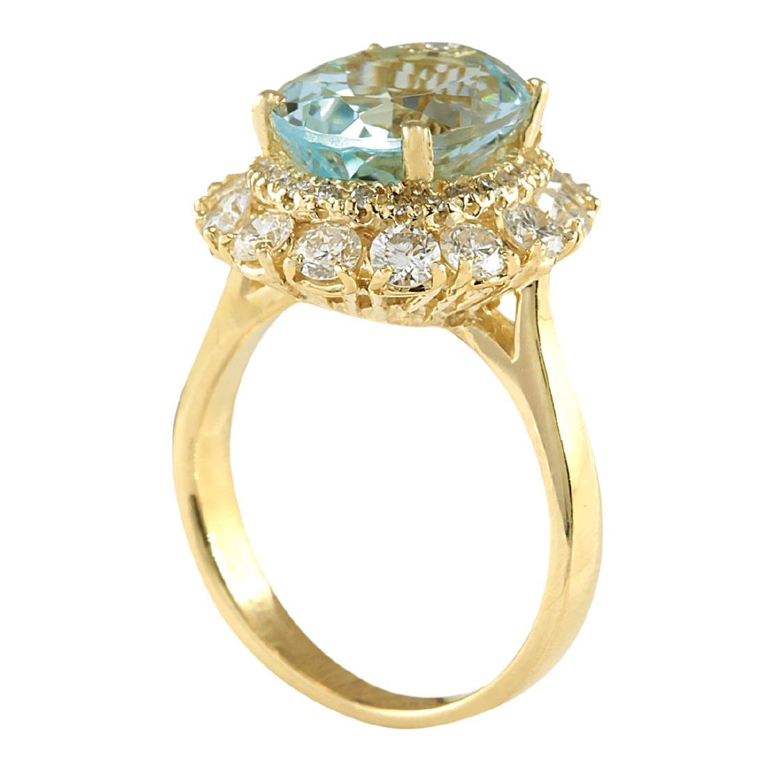 5.15CTW Natural Blue Aquamarine And Diamond Ring In 18K - 3