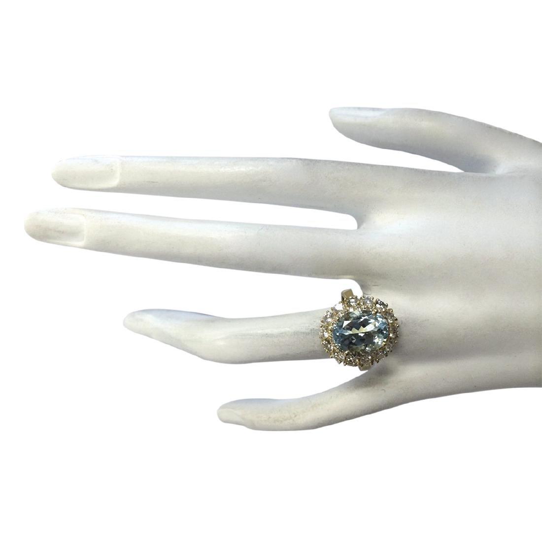 5.15CTW Natural Blue Aquamarine And Diamond Ring In 18K - 4