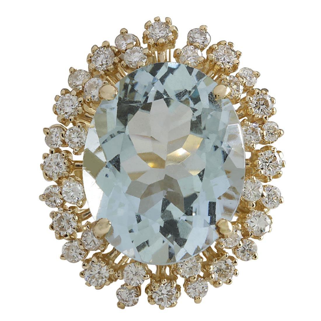 13.65CTW Natural Aquamarine And Diamond Ring In 18K