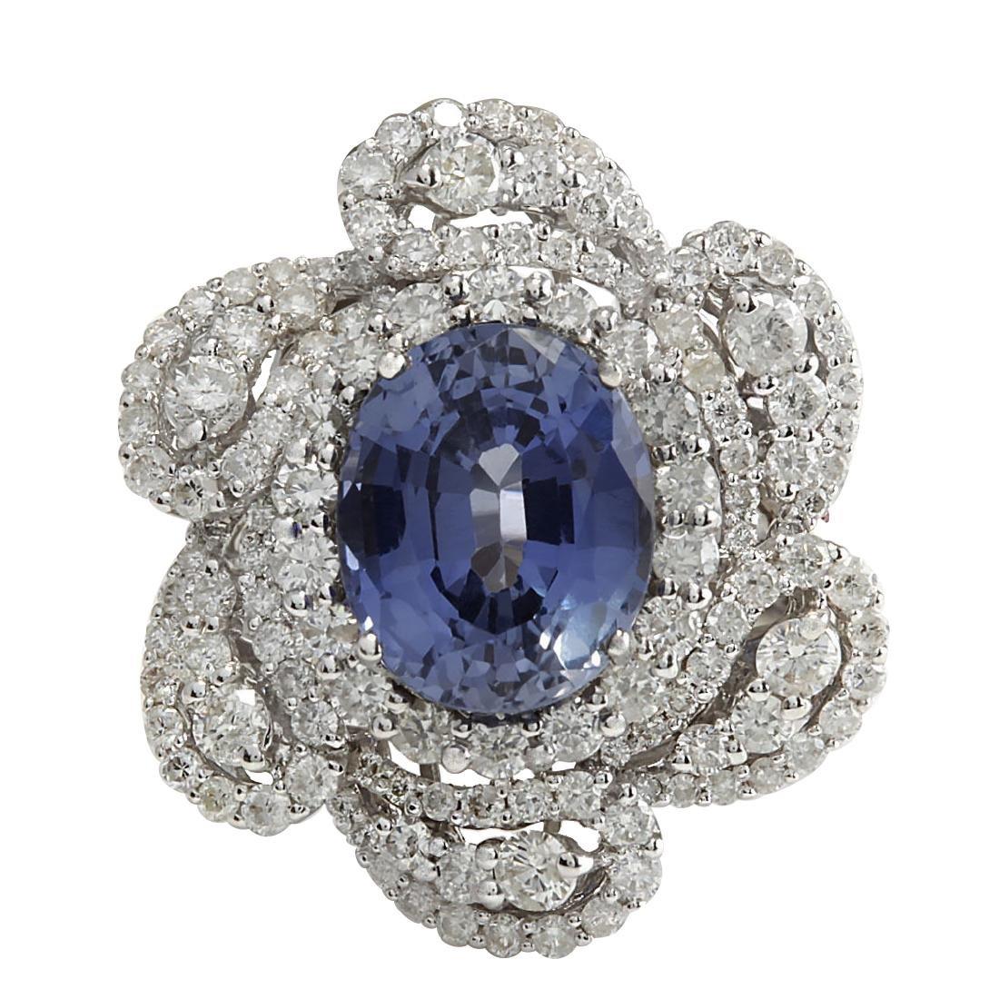 6.96CTW Natural Blue Ceylon Sapphire Diamond Ring 18K