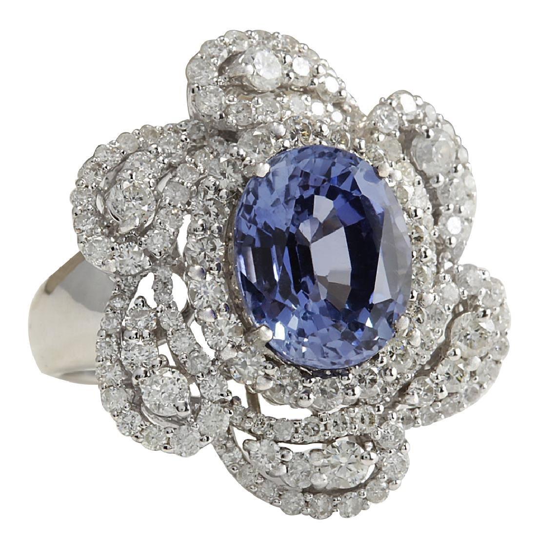 6.96CTW Natural Blue Ceylon Sapphire Diamond Ring 18K - 2