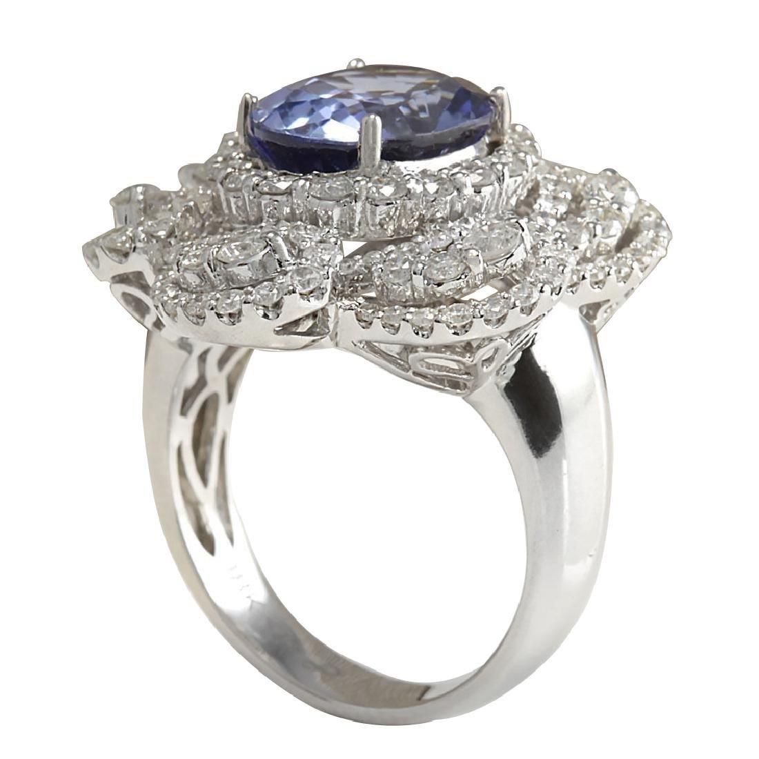 6.96CTW Natural Blue Ceylon Sapphire Diamond Ring 18K - 3