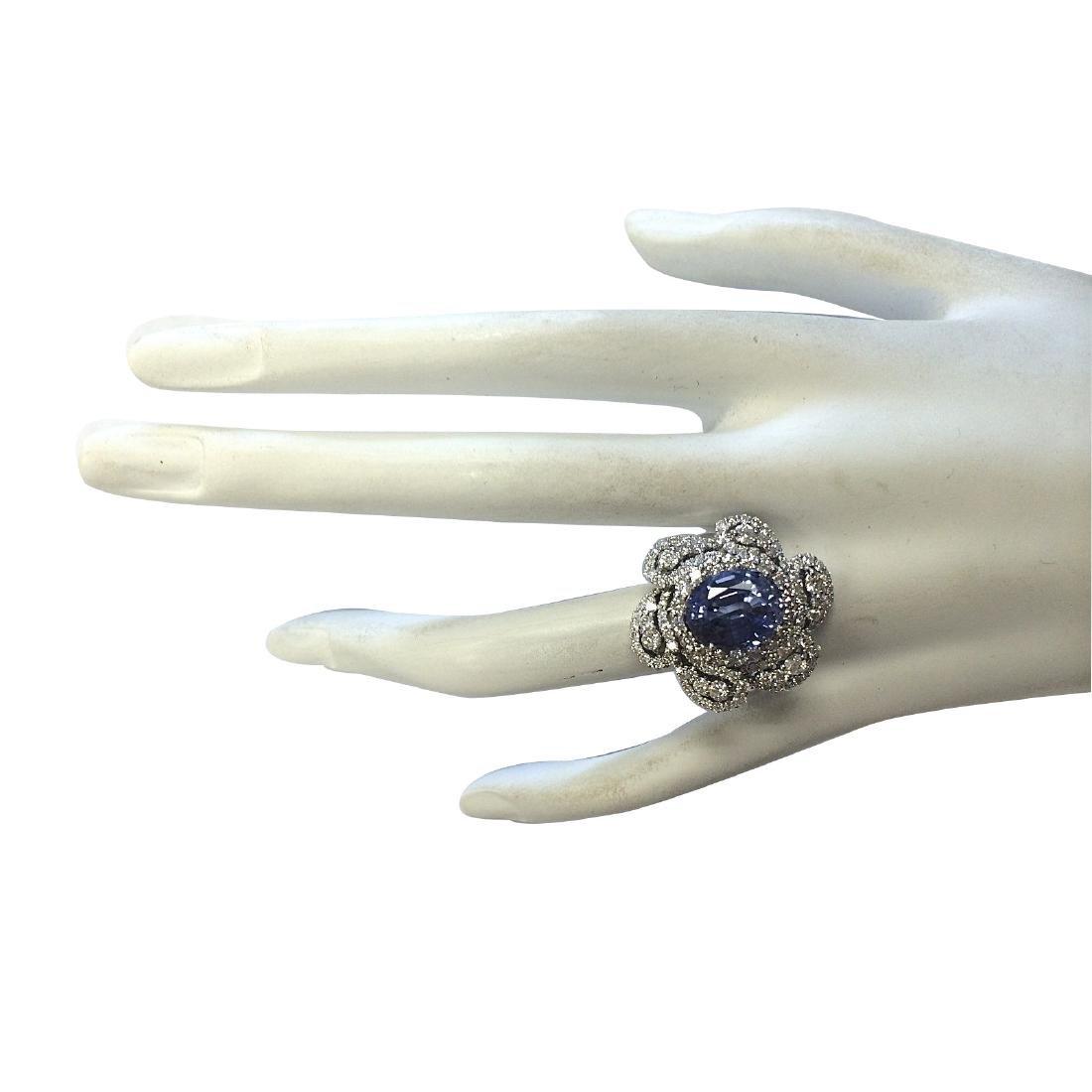 6.96CTW Natural Blue Ceylon Sapphire Diamond Ring 18K - 4