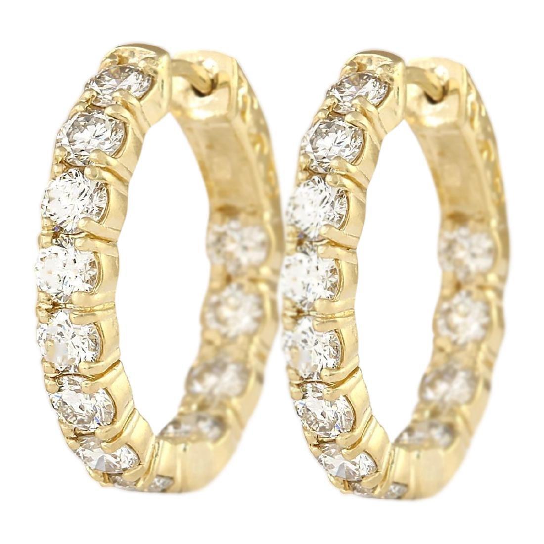 3.25 CTW Natural Diamond Hoop Earrings 18K Solid Yellow