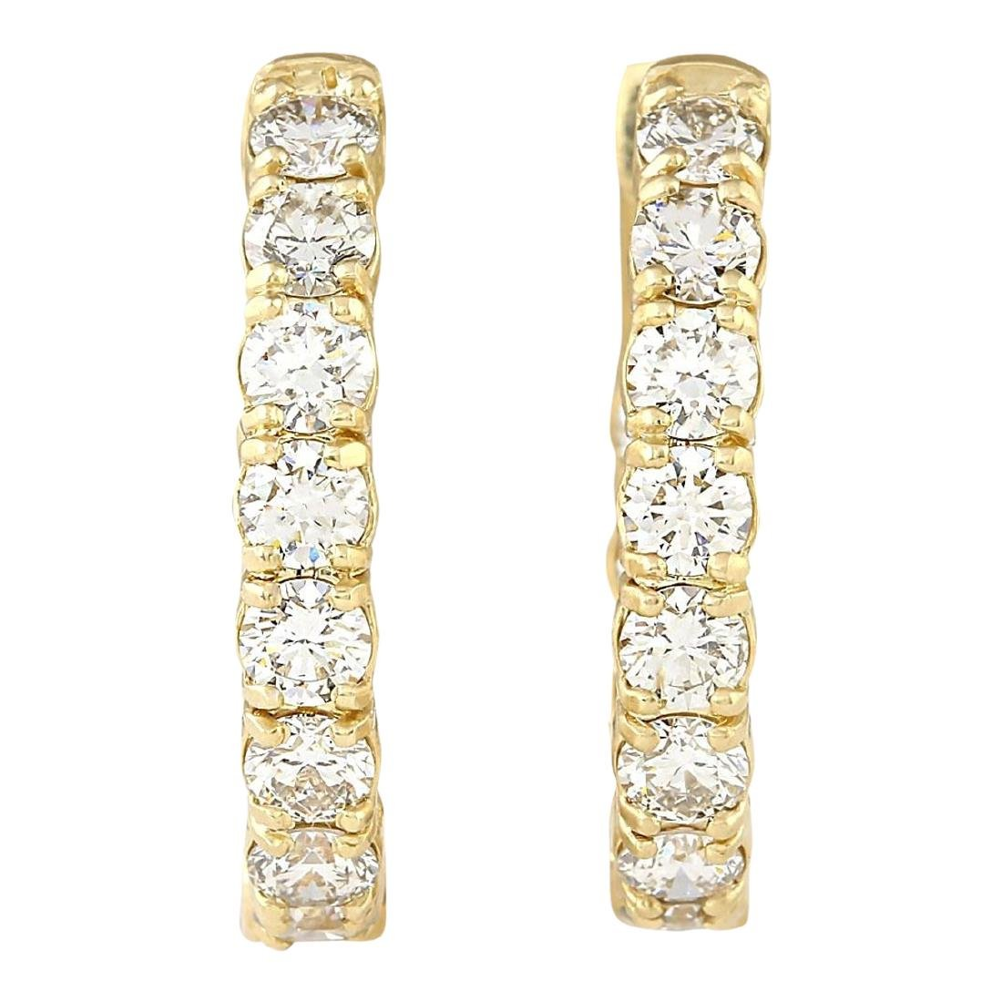 3.25 CTW Natural Diamond Hoop Earrings 18K Solid Yellow - 2