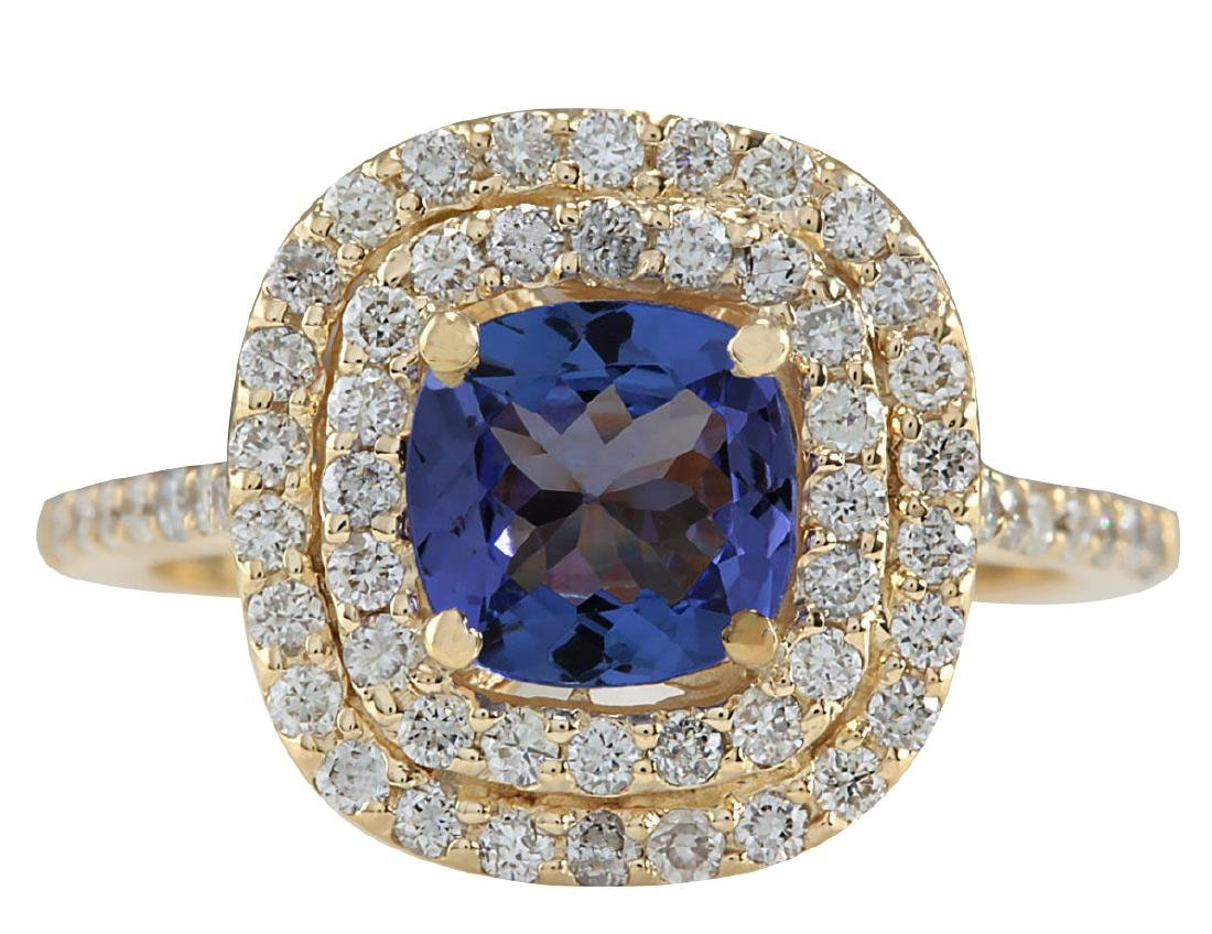 2.00CTW Natural Blue Tanzanite And Diamond Ring 18K
