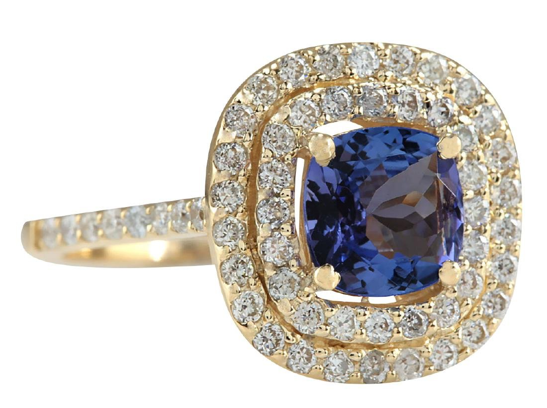 2.00CTW Natural Blue Tanzanite And Diamond Ring 18K - 2