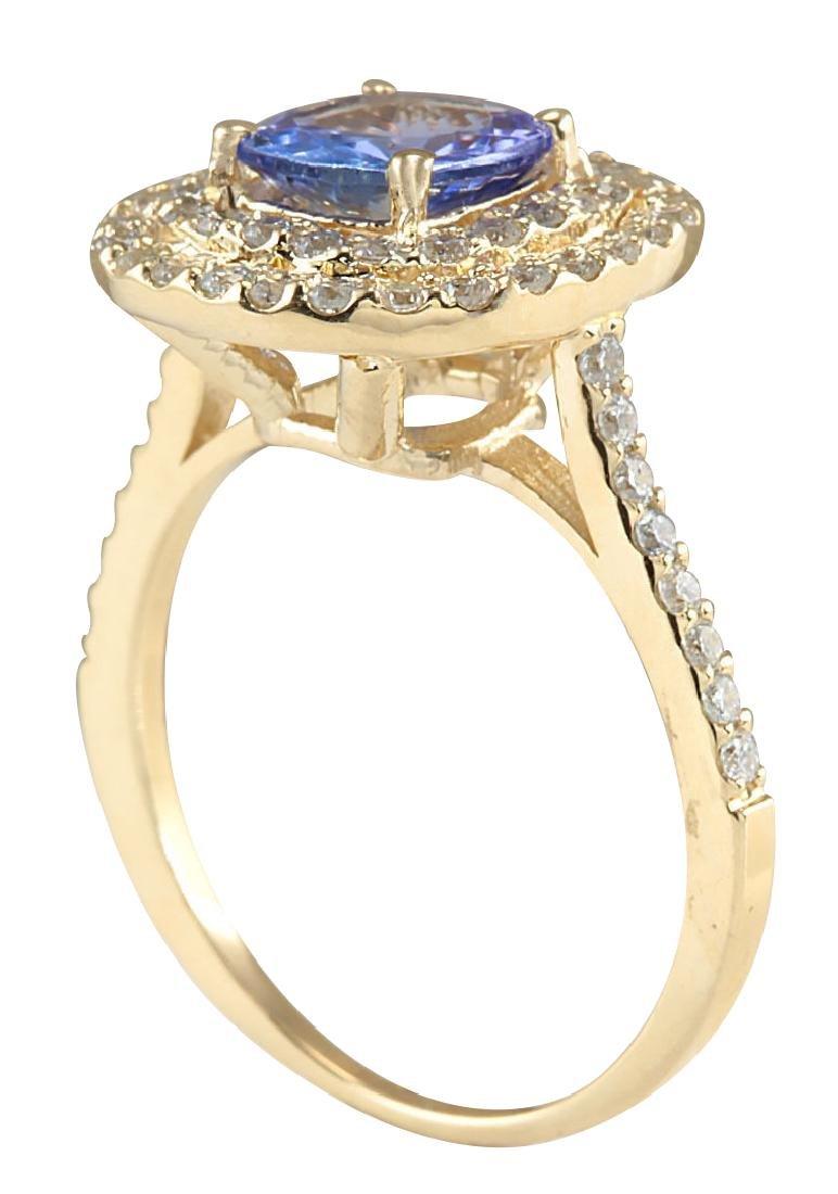 2.00CTW Natural Blue Tanzanite And Diamond Ring 18K - 3