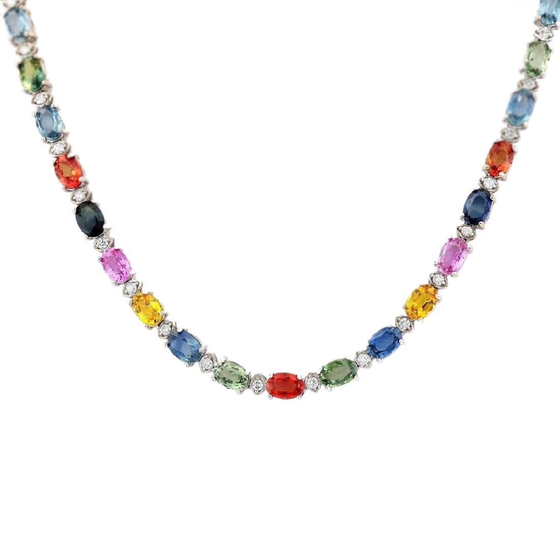35.20 CTW Natural Ceylon Sapphire And Diamond Necklace