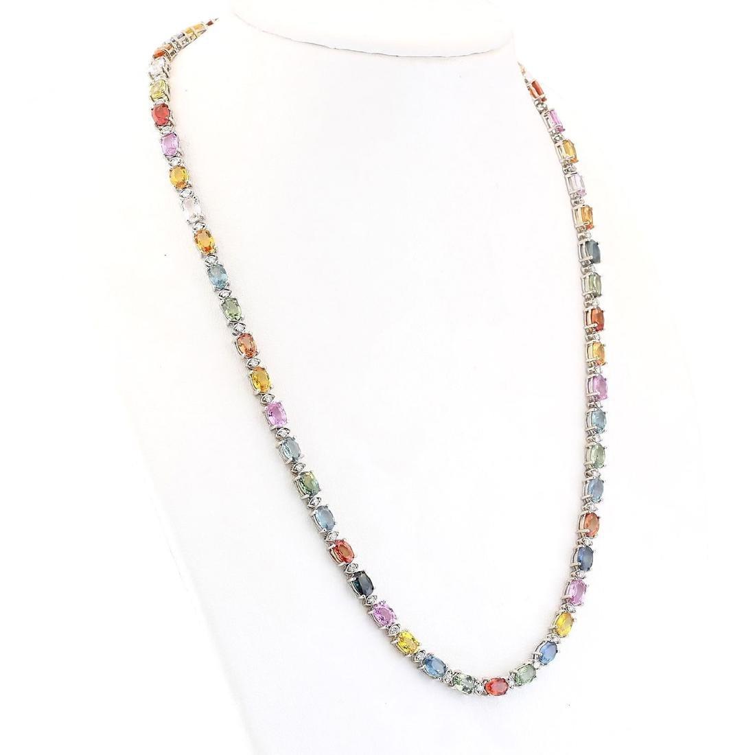 35.20 CTW Natural Ceylon Sapphire And Diamond Necklace - 2
