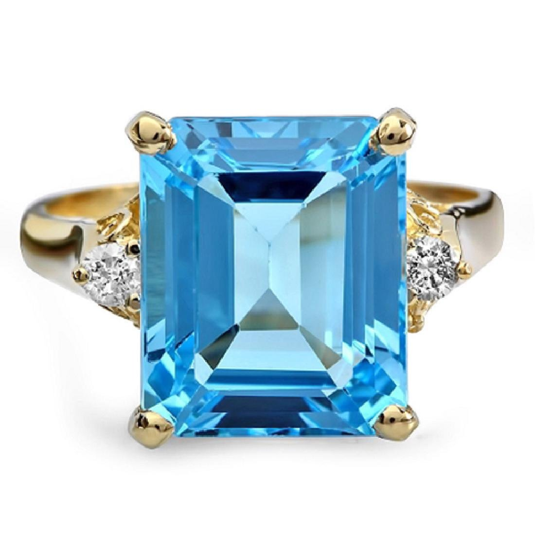 8.00 Carat Natural Topaz 18K Solid Yellow Gold Diamond