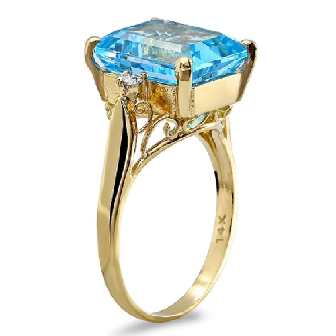 8.00 Carat Natural Topaz 18K Solid Yellow Gold Diamond - 2