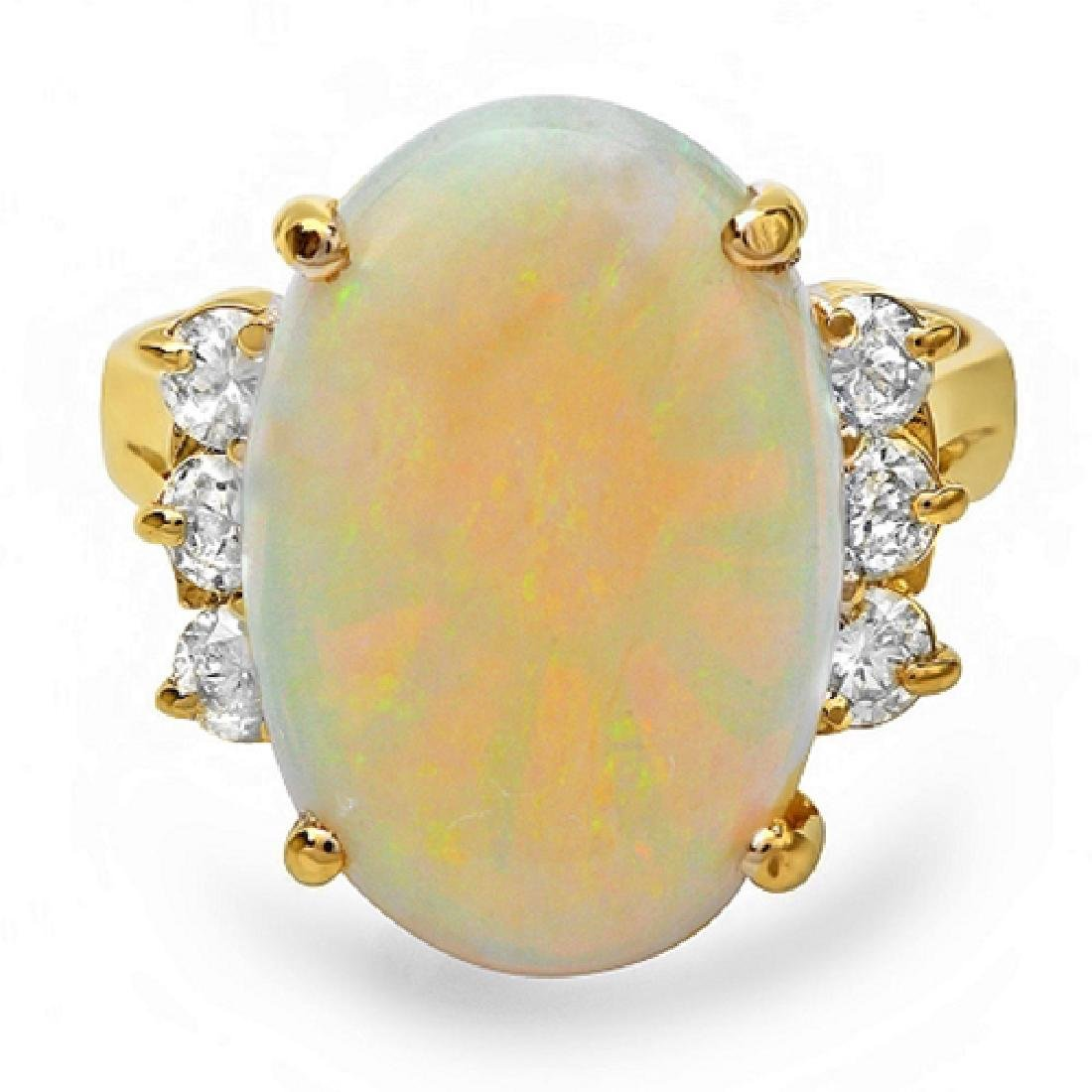 6.00 Carat Natural Opal 18K Solid Yellow Gold Diamond